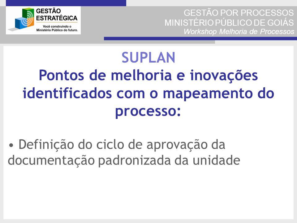 GESTÃO POR PROCESSOS MINISTÉRIO PÚBLICO DE GOIÁS Workshop Melhoria de Processos Definição do ciclo de aprovação da documentação padronizada da unidade