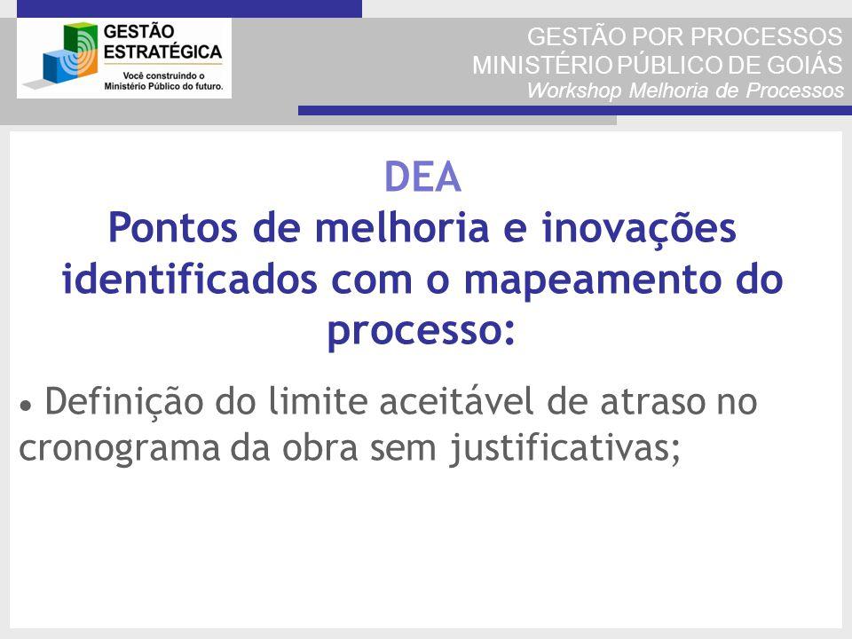 GESTÃO POR PROCESSOS MINISTÉRIO PÚBLICO DE GOIÁS Workshop Melhoria de Processos Definição do limite aceitável de atraso no cronograma da obra sem just