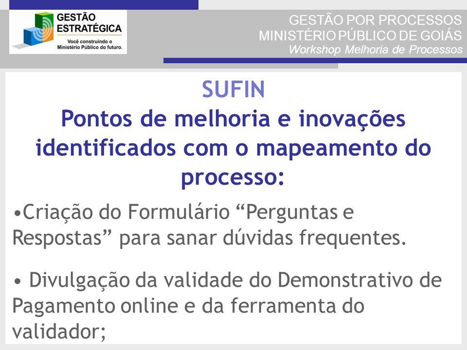 GESTÃO POR PROCESSOS MINISTÉRIO PÚBLICO DE GOIÁS Workshop Melhoria de Processos Criação do Formulário Perguntas e Respostas para sanar dúvidas frequen