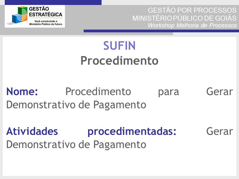 GESTÃO POR PROCESSOS MINISTÉRIO PÚBLICO DE GOIÁS Workshop Melhoria de Processos Nome: Procedimento para Gerar Demonstrativo de Pagamento Atividades pr