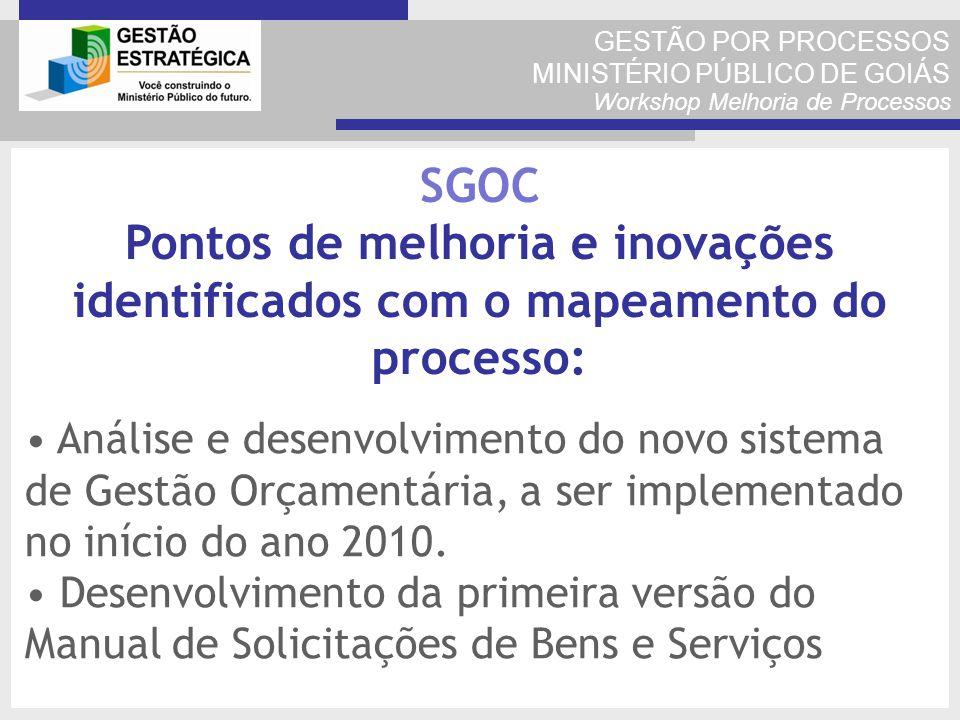 GESTÃO POR PROCESSOS MINISTÉRIO PÚBLICO DE GOIÁS Workshop Melhoria de Processos Análise e desenvolvimento do novo sistema de Gestão Orçamentária, a se