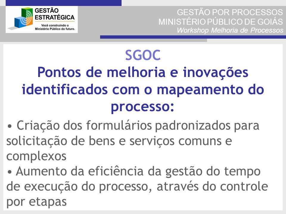 GESTÃO POR PROCESSOS MINISTÉRIO PÚBLICO DE GOIÁS Workshop Melhoria de Processos Criação dos formulários padronizados para solicitação de bens e serviç