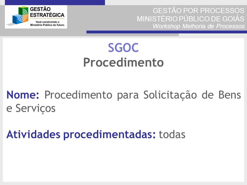 GESTÃO POR PROCESSOS MINISTÉRIO PÚBLICO DE GOIÁS Workshop Melhoria de Processos Nome: Procedimento para Solicitação de Bens e Serviços Atividades proc