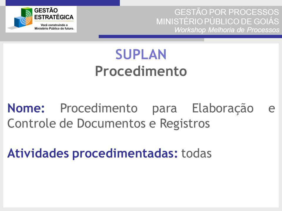 GESTÃO POR PROCESSOS MINISTÉRIO PÚBLICO DE GOIÁS Workshop Melhoria de Processos Nome: Procedimento para Elaboração e Controle de Documentos e Registro