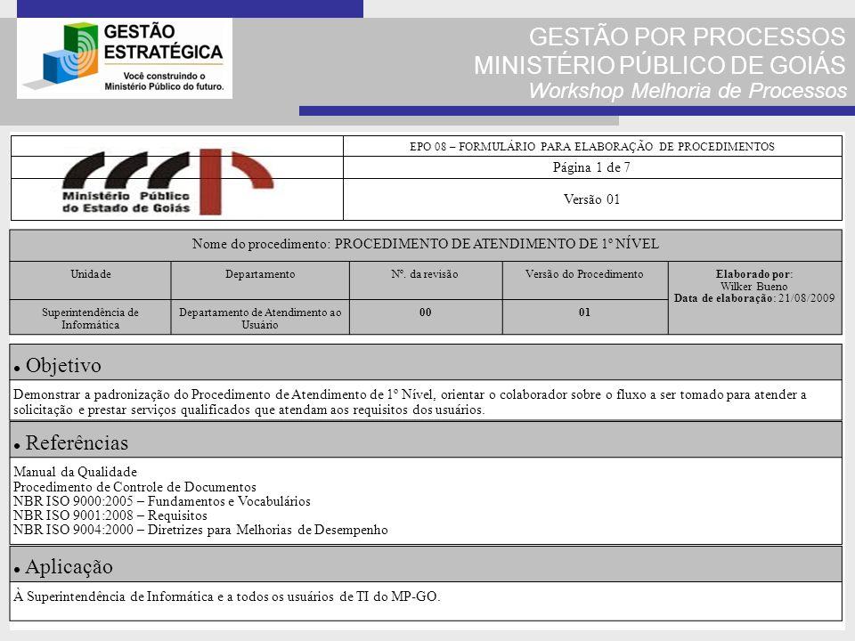 GESTÃO POR PROCESSOS MINISTÉRIO PÚBLICO DE GOIÁS Workshop Melhoria de Processos EPO 08 – FORMULÁRIO PARA ELABORAÇÃO DE PROCEDIMENTOS Página 1 de 7 Ver