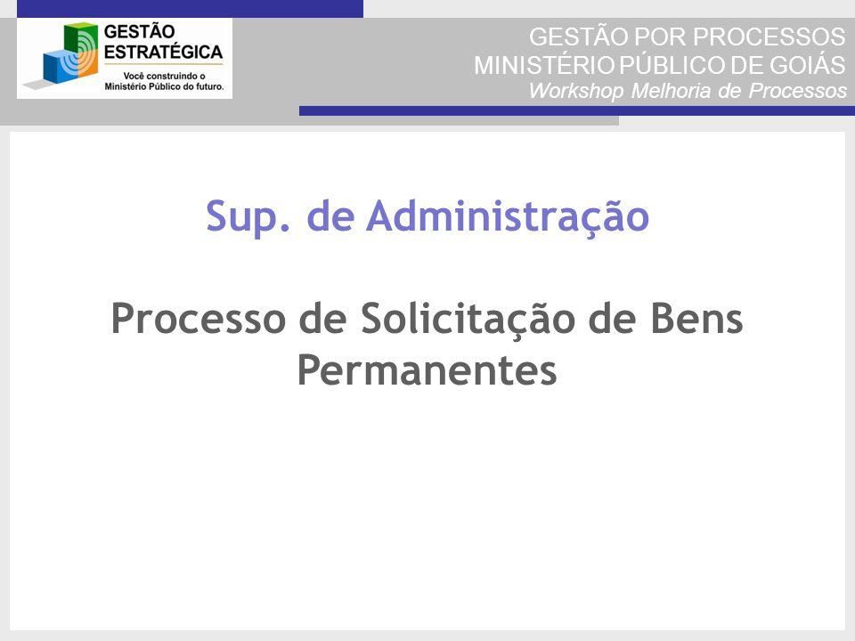 GESTÃO POR PROCESSOS MINISTÉRIO PÚBLICO DE GOIÁS Workshop Melhoria de Processos Sup. de Administração Processo de Solicitação de Bens Permanentes