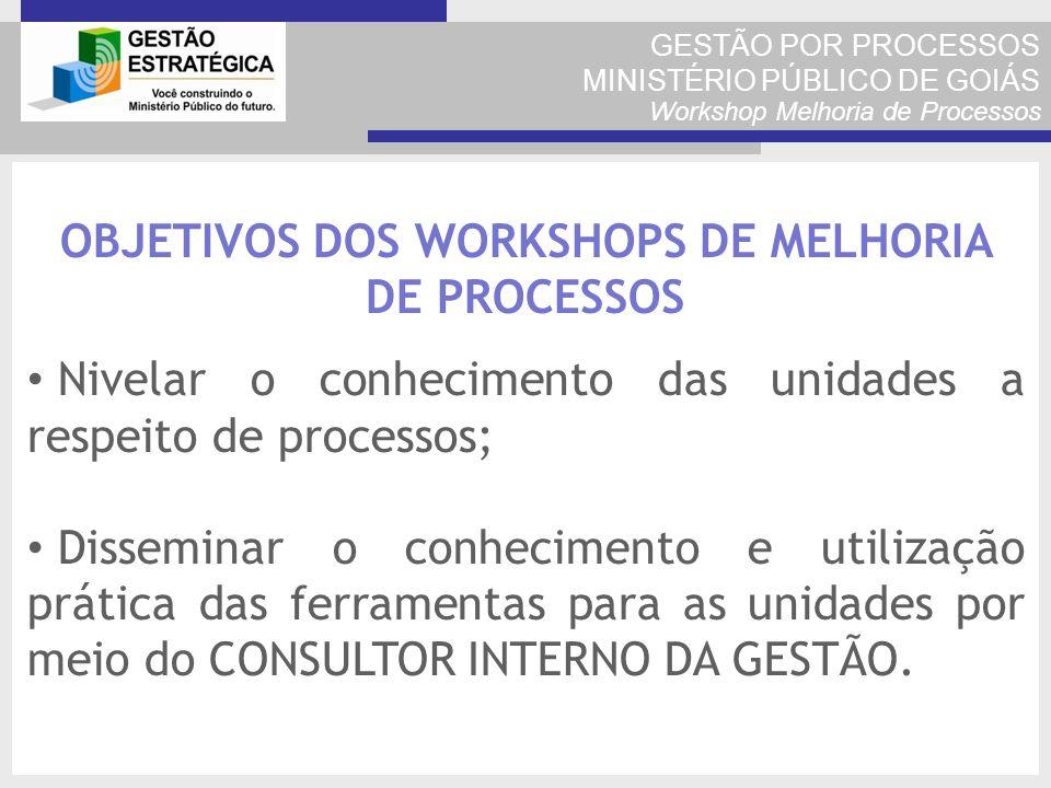 GESTÃO POR PROCESSOS MINISTÉRIO PÚBLICO DE GOIÁS Workshop Melhoria de Processos OBJETIVOS DOS WORKSHOPS DE MELHORIA DE PROCESSOS Nivelar o conheciment