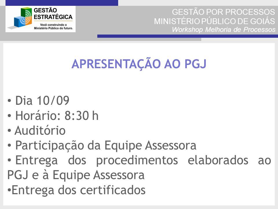 GESTÃO POR PROCESSOS MINISTÉRIO PÚBLICO DE GOIÁS Workshop Melhoria de Processos APRESENTAÇÃO AO PGJ Dia 10/09 Horário: 8:30 h Auditório Participação d