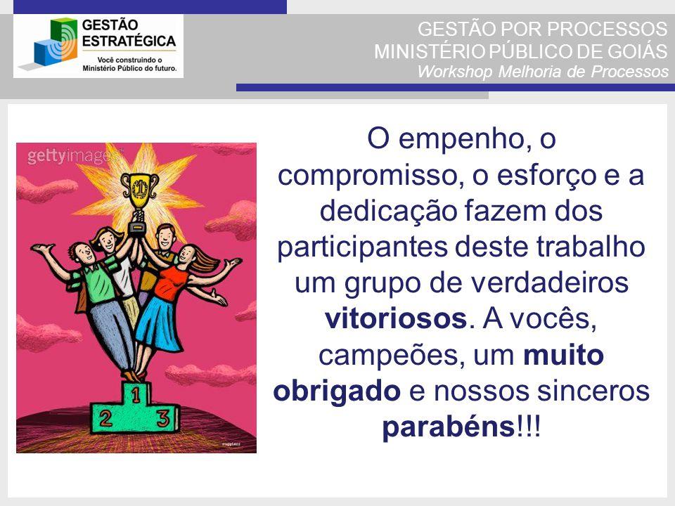 GESTÃO POR PROCESSOS MINISTÉRIO PÚBLICO DE GOIÁS Workshop Melhoria de Processos O empenho, o compromisso, o esforço e a dedicação fazem dos participan