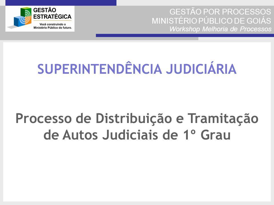 GESTÃO POR PROCESSOS MINISTÉRIO PÚBLICO DE GOIÁS Workshop Melhoria de Processos SUPERINTENDÊNCIA JUDICIÁRIA Processo de Distribuição e Tramitação de A