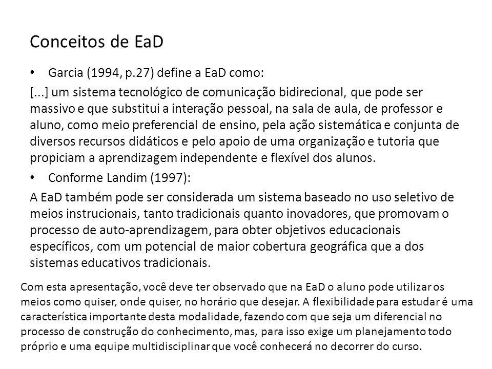 Conceitos de EaD Garcia (1994, p.27) define a EaD como: [...] um sistema tecnológico de comunicação bidirecional, que pode ser massivo e que substitui a interação pessoal, na sala de aula, de professor e aluno, como meio preferencial de ensino, pela ação sistemática e conjunta de diversos recursos didáticos e pelo apoio de uma organização e tutoria que propiciam a aprendizagem independente e flexível dos alunos.