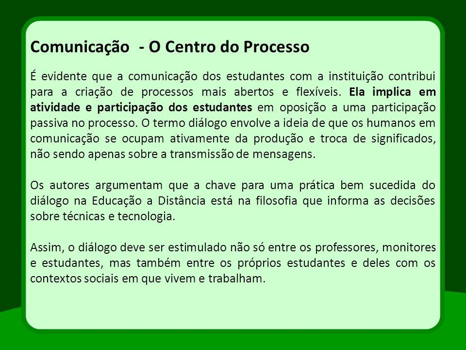 É evidente que a comunicação dos estudantes com a instituição contribui para a criação de processos mais abertos e flexíveis. Ela implica em atividade