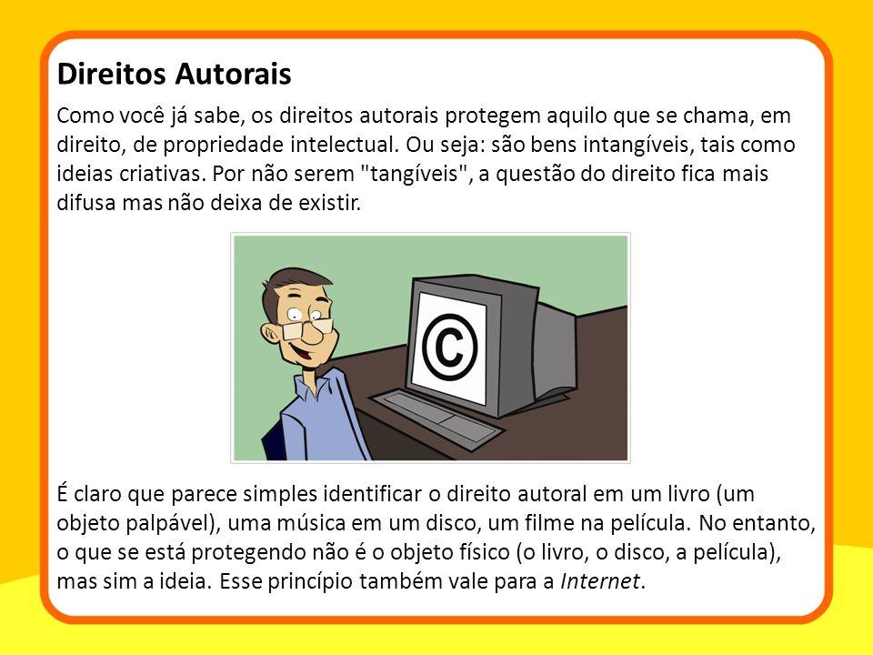 Como você já sabe, os direitos autorais protegem aquilo que se chama, em direito, de propriedade intelectual.