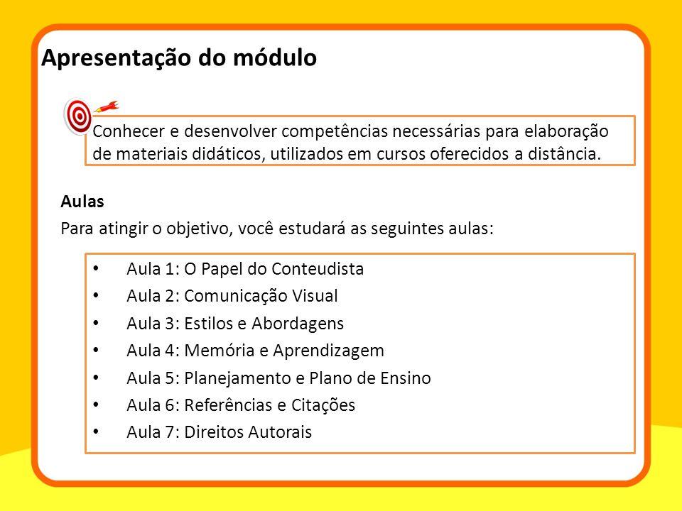 Apresentação do módulo Aula 1: O Papel do Conteudista Aula 2: Comunicação Visual Aula 3: Estilos e Abordagens Aula 4: Memória e Aprendizagem Aula 5: P