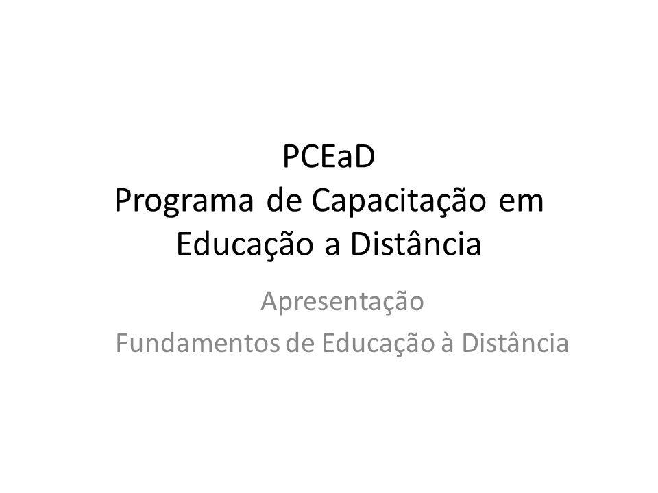 PCEaD Programa de Capacitação em Educação a Distância Apresentação Fundamentos de Educação à Distância
