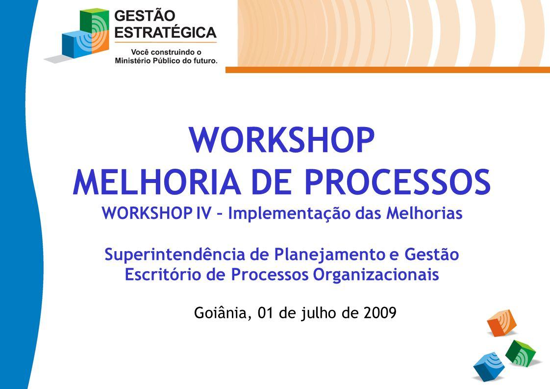 WORKSHOP MELHORIA DE PROCESSOS WORKSHOP IV – Implementação das Melhorias Superintendência de Planejamento e Gestão Escritório de Processos Organizacio