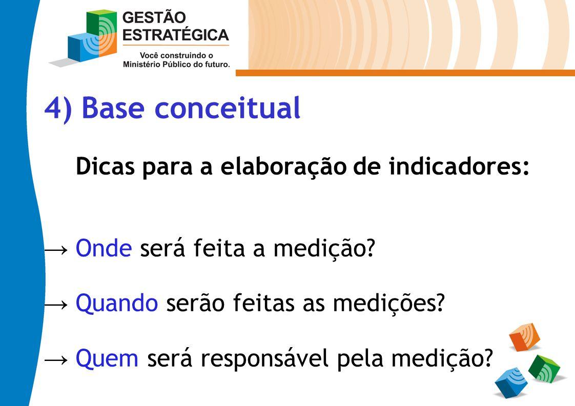 4) Base conceitual Dicas para a elaboração de indicadores: Onde será feita a medição? Quando serão feitas as medições? Quem será responsável pela medi