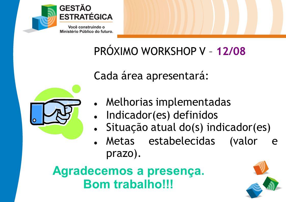 PRÓXIMO WORKSHOP V – 12/08 Cada área apresentará: Melhorias implementadas Indicador(es) definidos Situação atual do(s) indicador(es) Metas estabelecid