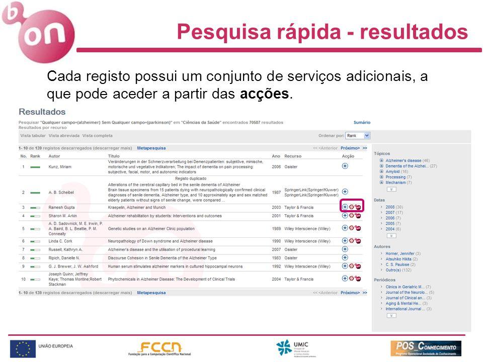 Cada registo possui um conjunto de serviços adicionais, a que pode aceder a partir das acções.