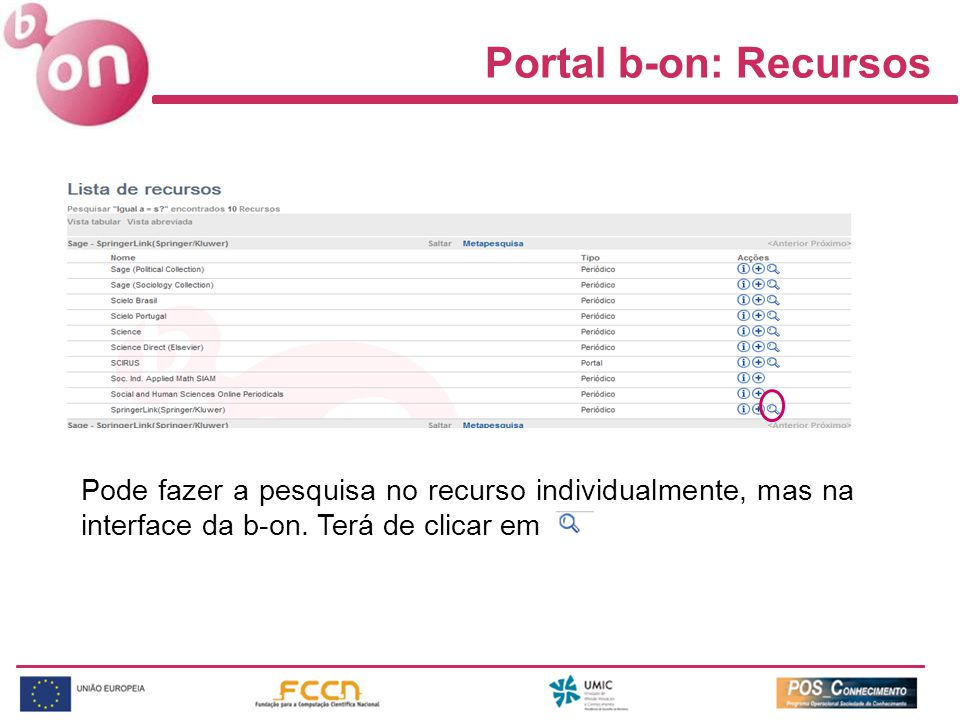 Portal b-on: Recursos Pode fazer a pesquisa no recurso individualmente, mas na interface da b-on.