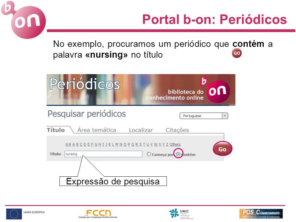 Expressão de pesquisa Portal b-on: Periódicos No exemplo, procuramos um periódico que contém a palavra «nursing» no título