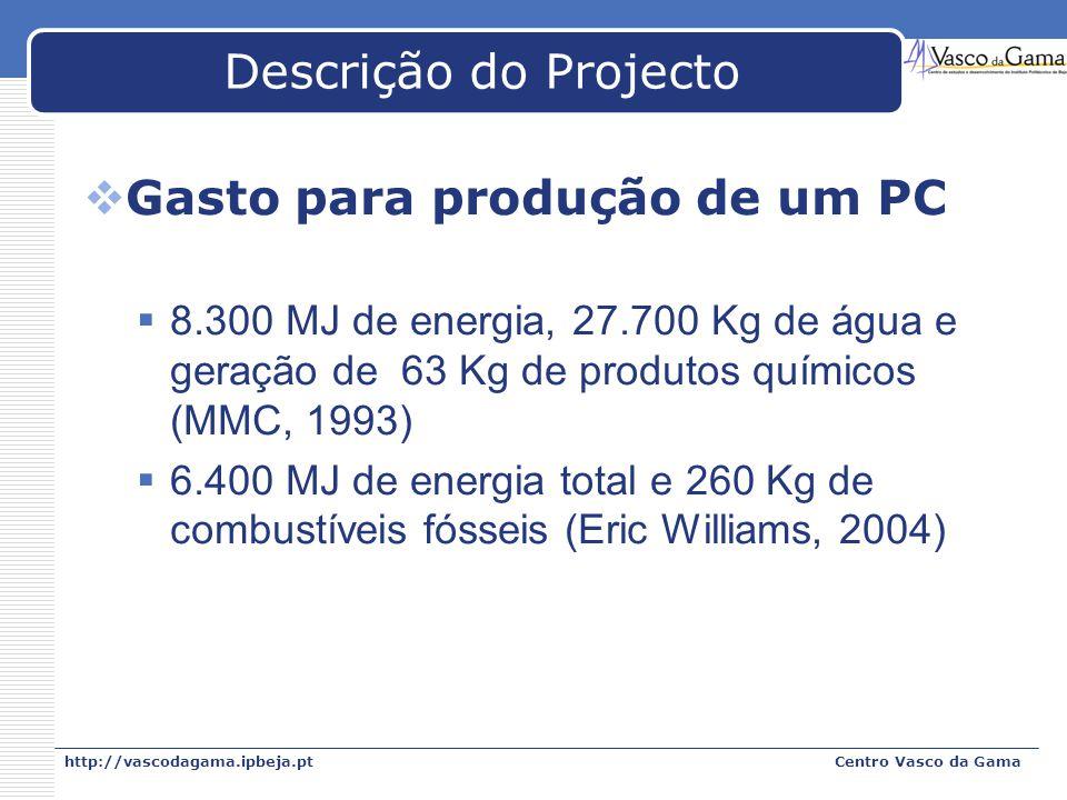 http://vascodagama.ipbeja.ptCentro Vasco da Gama Descrição do Projecto Gasto para produção de um PC 8.300 MJ de energia, 27.700 Kg de água e geração d