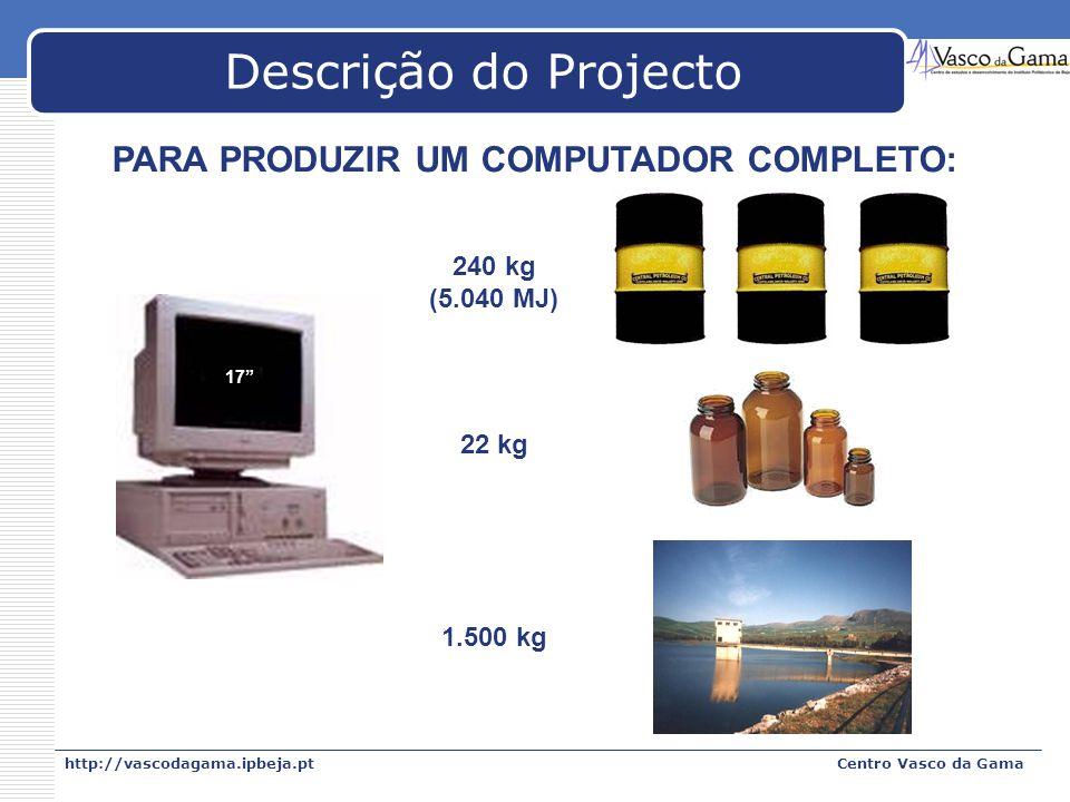http://vascodagama.ipbeja.ptCentro Vasco da Gama Descrição do Projecto PARA PRODUZIR UM COMPUTADOR COMPLETO: 17 240 kg (5.040 MJ) 22 kg 1.500 kg