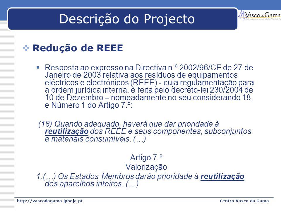 http://vascodagama.ipbeja.ptCentro Vasco da Gama Descrição do Projecto Redução de REEE Resposta ao expresso na Directiva n.º 2002/96/CE de 27 de Janei