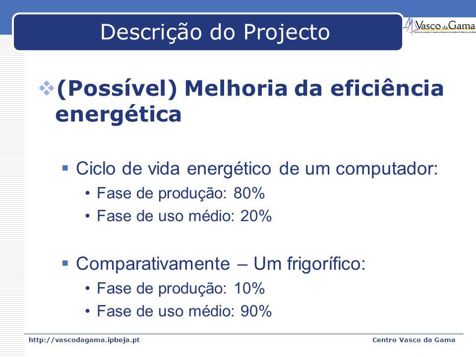 http://vascodagama.ipbeja.ptCentro Vasco da Gama Descrição do Projecto (Possível) Melhoria da eficiência energética Ciclo de vida energético de um com