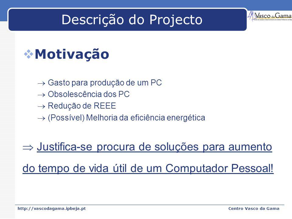 http://vascodagama.ipbeja.ptCentro Vasco da Gama Descrição do Projecto Motivação Gasto para produção de um PC Obsolescência dos PC Redução de REEE (Po