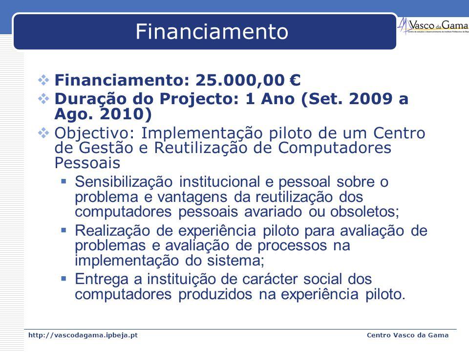 http://vascodagama.ipbeja.ptCentro Vasco da Gama Financiamento Financiamento: 25.000,00 Duração do Projecto: 1 Ano (Set. 2009 a Ago. 2010) Objectivo: