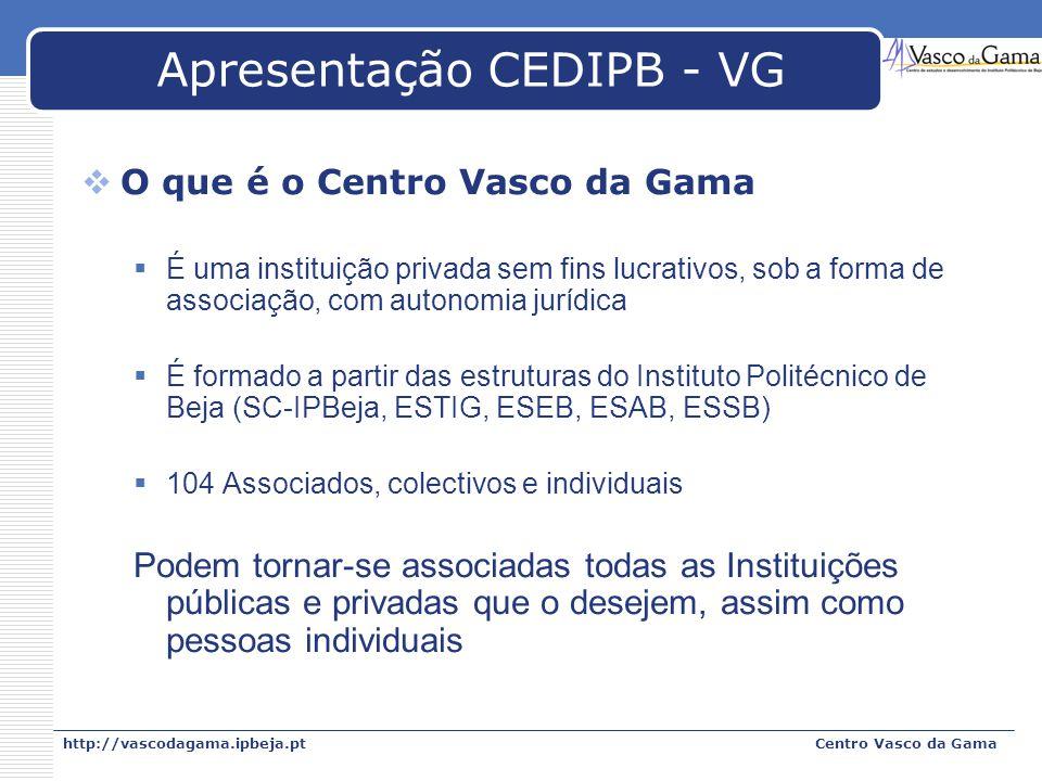 http://vascodagama.ipbeja.ptCentro Vasco da Gama Apresentação CEDIPB - VG O que é o Centro Vasco da Gama É uma instituição privada sem fins lucrativos