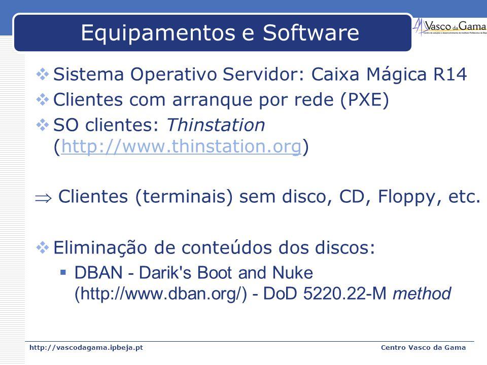 http://vascodagama.ipbeja.ptCentro Vasco da Gama Equipamentos e Software Sistema Operativo Servidor: Caixa Mágica R14 Clientes com arranque por rede (