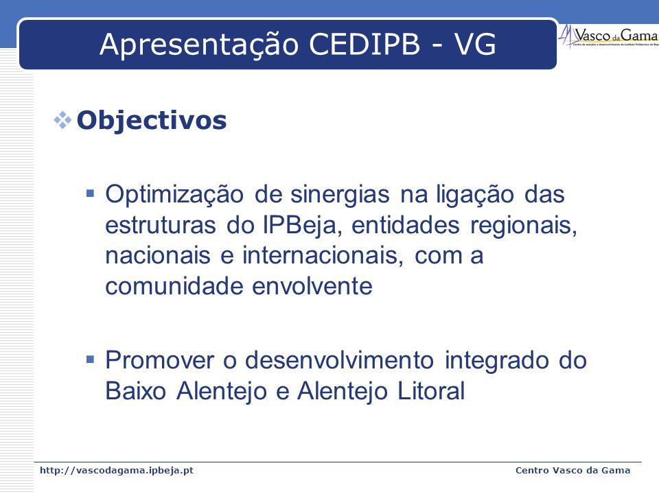 http://vascodagama.ipbeja.ptCentro Vasco da Gama Apresentação CEDIPB - VG Objectivos Optimização de sinergias na ligação das estruturas do IPBeja, ent