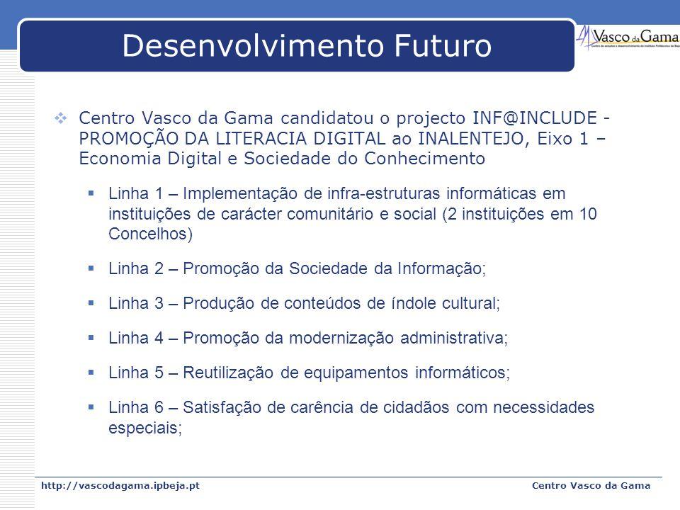 http://vascodagama.ipbeja.ptCentro Vasco da Gama Desenvolvimento Futuro Centro Vasco da Gama candidatou o projecto INF@INCLUDE - PROMOÇÃO DA LITERACIA