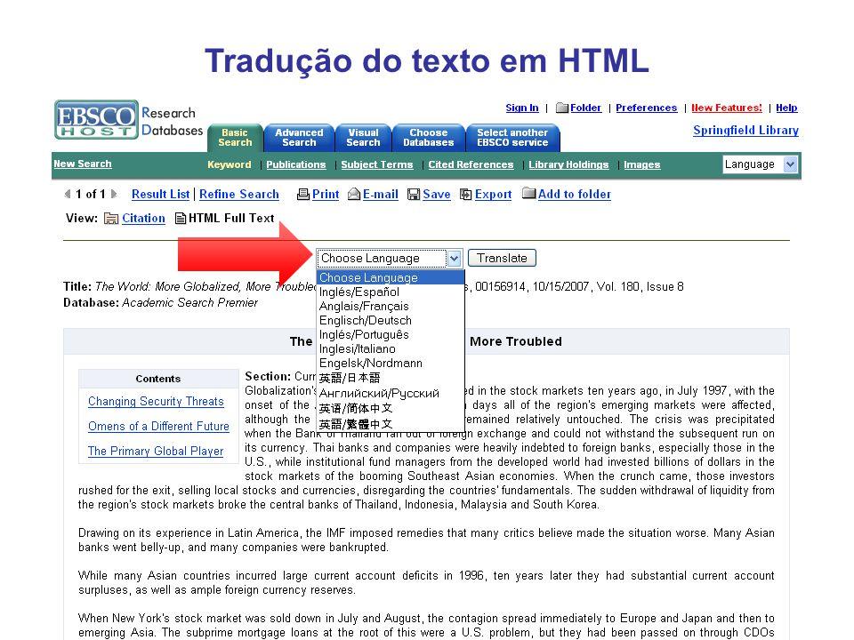 Tradução do texto em HTML
