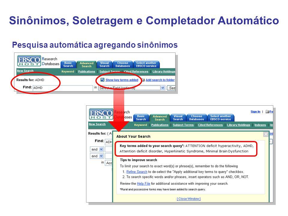 Pesquisa automática agregando sinônimos Sinônimos, Soletragem e Completador Automático