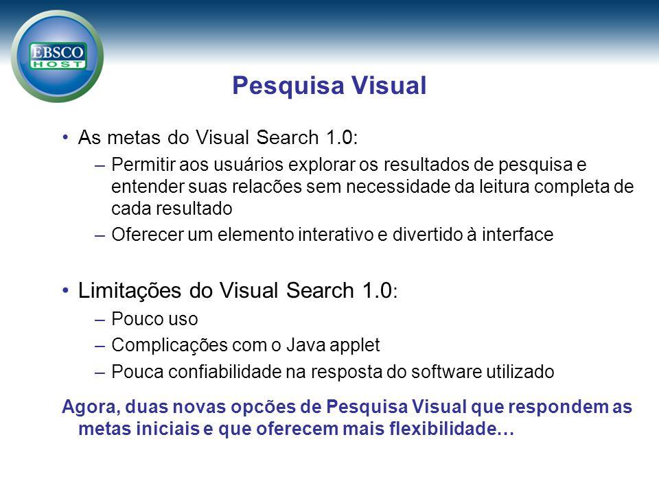 Pesquisa Visual As metas do Visual Search 1.0: –Permitir aos usuários explorar os resultados de pesquisa e entender suas relacões sem necessidade da leitura completa de cada resultado –Oferecer um elemento interativo e divertido à interface Limitações do Visual Search 1.0 : –Pouco uso –Complicações com o Java applet –Pouca confiabilidade na resposta do software utilizado Agora, duas novas opcões de Pesquisa Visual que respondem as metas iniciais e que oferecem mais flexibilidade…