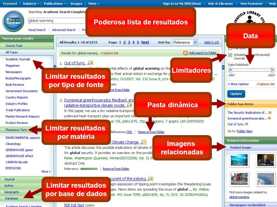 Poderosa lista de resultados Limitar resultados por matéria Data Limitadores Pasta dinâmica Imagens relacionadas Limitar resultados por tipo de fonte Limitar resultados por base de dados