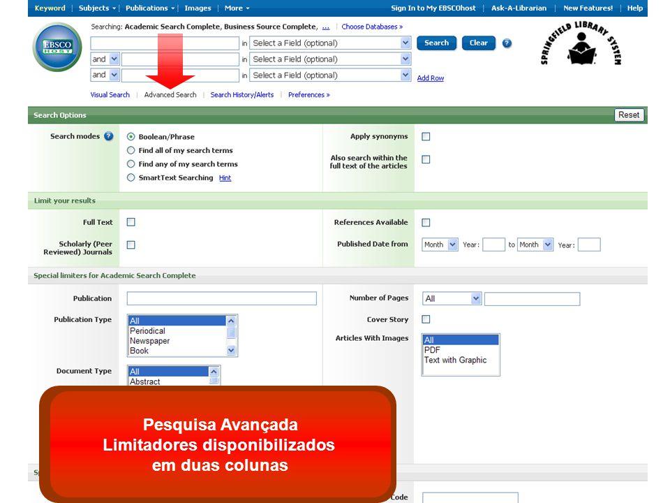 Pesquisa Avançada Limitadores disponibilizados em duas colunas