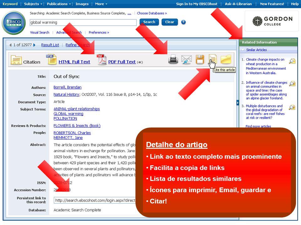 Detalhe do artigo Link ao texto completo mais proeminente Facilita a copia de links Lista de resultados similares Ícones para imprimir, Email, guardar e Citar!