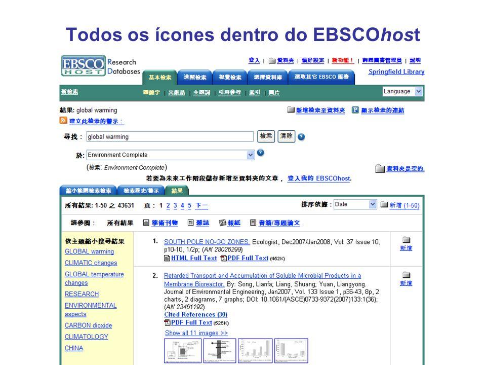 Todos os ícones dentro do EBSCOhost
