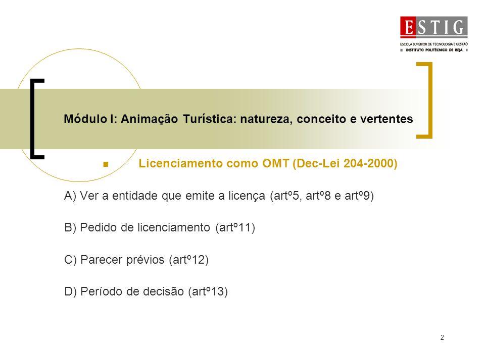 3 Módulo I: Animação Turística: natureza, conceito e vertentes Licenciamento para Animação Ambiental A) Emissão de licença pelo ICN após emissão de parecer (artº8) B) Pedido de licença (artº9) C) Parecer prévios (artº10) D)Conteúdo da licença (artº13)