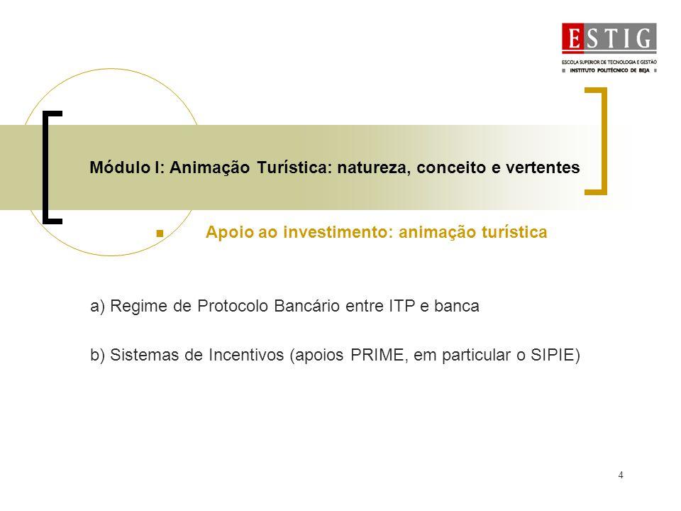 4 Módulo I: Animação Turística: natureza, conceito e vertentes Apoio ao investimento: animação turística a) Regime de Protocolo Bancário entre ITP e b
