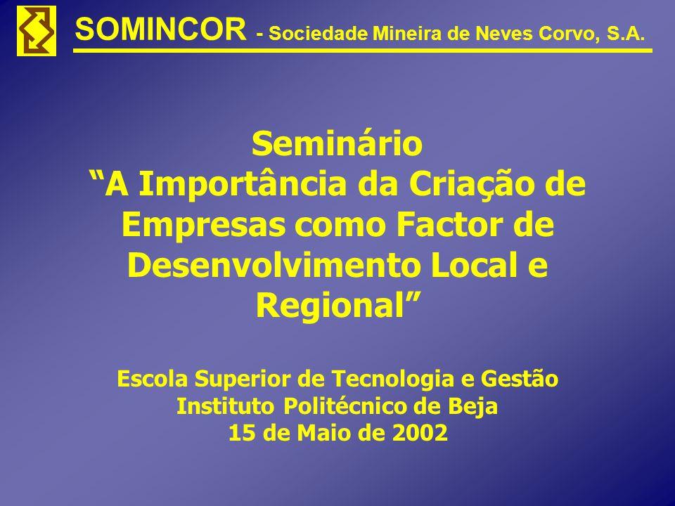 SOMINCOR - Sociedade Mineira de Neves Corvo, S.A. Seminário A Importância da Criação de Empresas como Factor de Desenvolvimento Local e Regional Escol