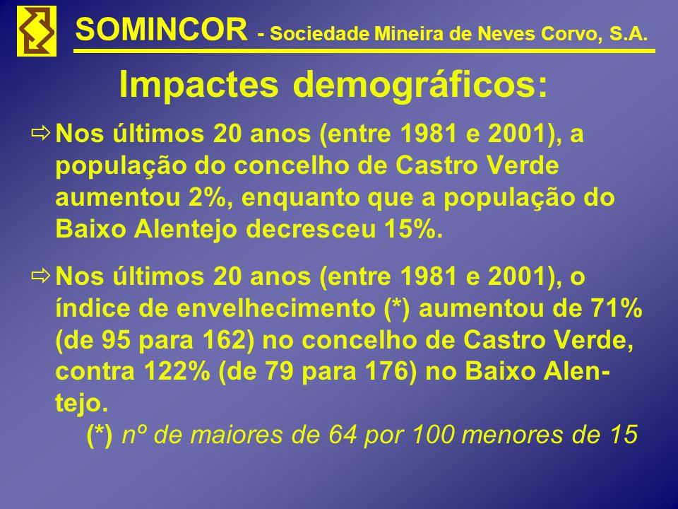 SOMINCOR - Sociedade Mineira de Neves Corvo, S.A. Impactes demográficos: Nos últimos 20 anos (entre 1981 e 2001), a população do concelho de Castro Ve