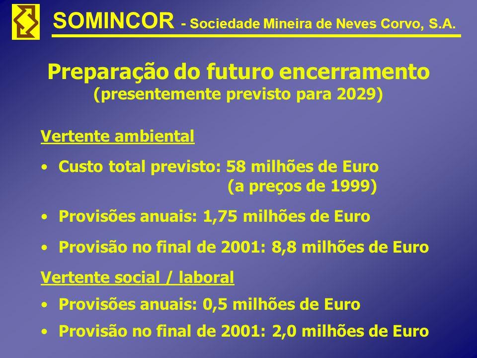 Preparação do futuro encerramento (presentemente previsto para 2029) Vertente ambiental Custo total previsto: 58 milhões de Euro (a preços de 1999) Pr