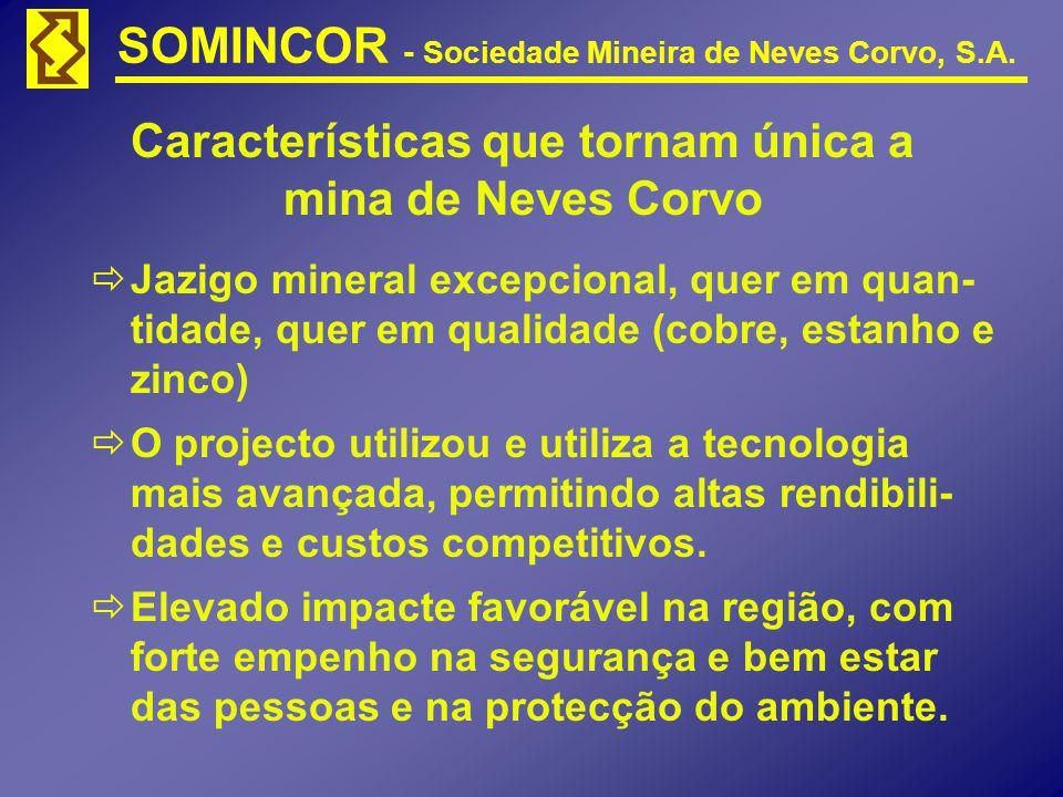 SOMINCOR - Sociedade Mineira de Neves Corvo, S.A. Características que tornam única a mina de Neves Corvo Jazigo mineral excepcional, quer em quan- tid
