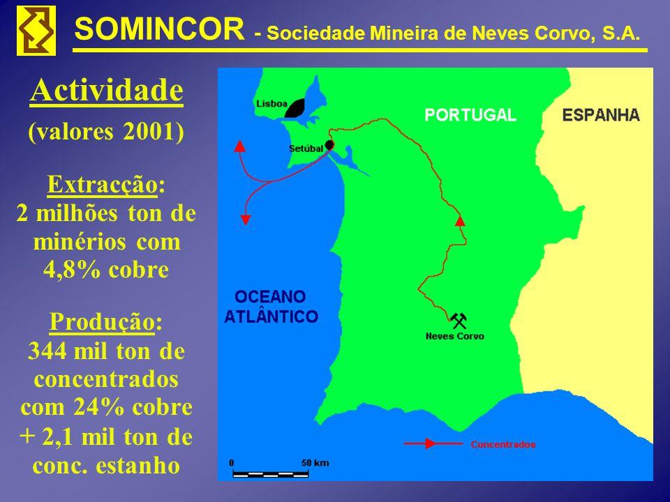 SOMINCOR - Sociedade Mineira de Neves Corvo, S.A. Actividade (valores 2001) Extracção: 2 milhões ton de minérios com 4,8% cobre Produção: 344 mil ton