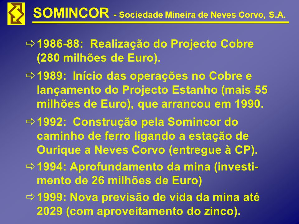 SOMINCOR - Sociedade Mineira de Neves Corvo, S.A. 1986-88: Realização do Projecto Cobre (280 milhões de Euro). 1989: Início das operações no Cobre e l